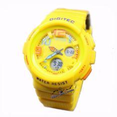 Digitec Original Dg3034 Jam Tangan Wanita Dual Time Rubber Strap Kuning Murah