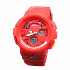 Harga Digitec Original Dg3034 Jam Tangan Wanita Dual Time Rubber Strap Merah Murah