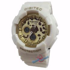 Toko Digitec Original Dg3038L Jam Tangan Wanita Dual Time Strap Karet Putih Kuning Termurah