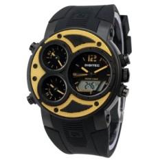 Spesifikasi Digitec Triple Time Edition Analog Jam Tangan Pria Rubber Strap Hitam List Kuning Terbaru