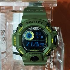 Digitec Wrist Watch Jam Tangan Sport DG-20647T Aquaman Dual Time Original - Green Army + Box