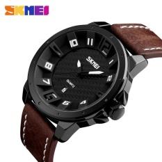 Jual Beli Online Diotem Skmei Pria Fashion Quartz Jam Tangan Tali Kulit Kalender Lengkap Tahan Air Olahraga Watches 9150 Brown Intl