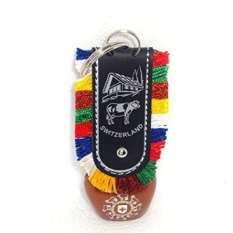 Discount4Product Beautiful Metallic Swiss Cow Bell Keychain Design - intl