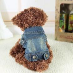 DJ Denim Anjing Jaket Pakaian Hewan Peliharaan Kucing Anjing Rompi Jeans Coat Anjing Pakaian (Luar Negeri)-Intl