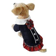 DJ Lovely Bowtie Modis Gaya Kampus PET Puppy Dogclothesjumpsuit Baju Pasangan For Musim Semi Musim Gugur FeL-Intl