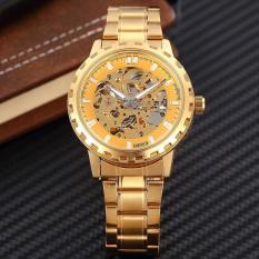 Dmscs SHENHUA Men Merek Jam Tangan Mekanis Mewah Emas Skeleton Otomatis Self Wind Wrist Watch untuk Pria Berkualitas Tinggi Paduan Gear Watch (Emas)