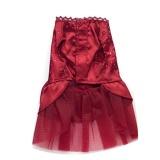 Spesifikasi Dog Puppy Wedding Party Lace Skirt Clothes Bow Tutu Princess Dress Pet Apparel Red S Intl