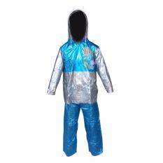Dolphin Jas Hujan Anak Remaja Setelan Baju Celana Tipe 942 - Club FootBall - Silver Biru - Dominan Biru puzzisyukur