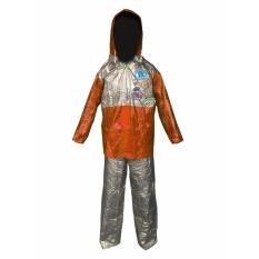 Dolphin Jas Hujan Anak Remaja Setelan Baju Celana Tipe 942 - Club FootBall - Silver Coklat - Dominan Silver