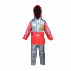 Dolphin Jas Hujan Anak Remaja Setelan Baju Celana Tipe 942 - Silver Merah - Dominan Silver puzzisyukur
