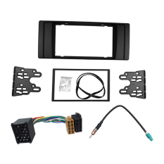 Double Din Radio Fascia For BMW E39 Dash Kit Bingkai With Wiring Harness Antena Aerial ADAPTER-Intl