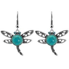 Dragonfly Wanita Perhiasan Set Batu Alam Pendant Kalung Anting Antik Paduan Berlapis Perak Rantai Hadiah Warna: ERH-L22 Earrings-Intl