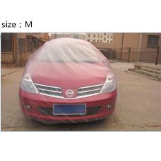 Dsstyles 3 Ukuran LDPE Film Luar Ruangan Bening Disposable Penuh Mobil Sarung Hujan/Debu Tahan Garasi Universal Sementara Spesifikasi: M Bening