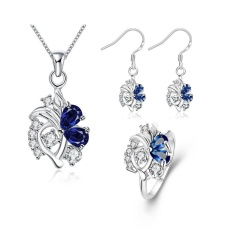 Dulhan Perhiasan Set Belanja Online Zircon Women Romantis Pesta Earrings Cincin Kalung Tembaga Bridal Perhiasan Set Emas Disepuh Tanaman- INTL
