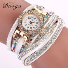 Duoya Luxury Brand Designer Ladies Watch Women Pearl Scale Bracelet Quartz Wristwatch Crystal Diamond Clock Women Dress Watch - White - intl