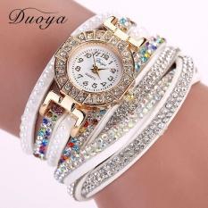 Duoya Perancang Merek Mewah Ladies Jam Wanita Pearl Skala Jam Tangan Gelang Crystal Diamond Clock Wanita With Tali Putih