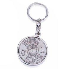 Cool Stylish 50 Tahun Kalender Gantungan Kunci Keyring Keyfob Paduan Logam Ring Compass-Intl