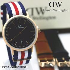 DW_KNVS jam tangan kasual pria tanggal-free tali kulit