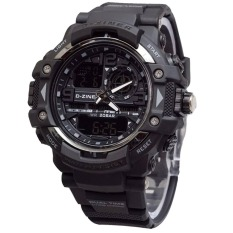 Dziner Dual Time - Jam Tangan Pria - Rubber Strap - Dz 8078 Black