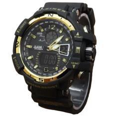 Harga Dziner Dual Time Jam Tangan Sport Pria Rubber Strap Dz 8068Art Black Gold Yang Murah Dan Bagus