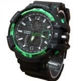 Spesifikasi Dziner Dual Time Jam Tangan Sport Pria Rubber Strap Dz 8068 Black Green Terbaru