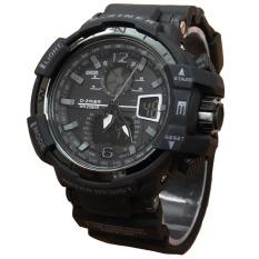 Dziner Dual Time - Jam Tangan Sport Pria - Rubber Strap - Dz-9068 Black