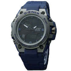 Dziner Dual Time - Jam Tangan Sport Pria - Rubber Strap - DZ8139DT BLUE