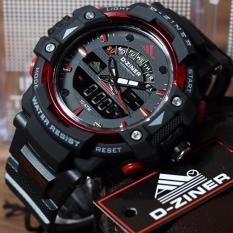 Jual Dziner Dual Time Jam Tangan Sport Pria Rubber Strap Hitam Dz7088 Dziner