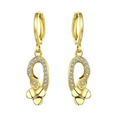 E058-A 24 K Lempengan Emas Anting-Anting Fashion Zirkon Anting-Anting (Emas)