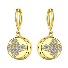 E060-A 24 K Lempengan Emas Anting-Anting Fashion Zirkon Anting-Anting (Emas)