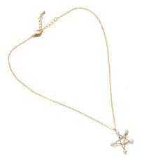Easbuy 1 Pcs Wanita Baru dengan Gambar 5 Bintang Pearl Pendant Kalung Golden