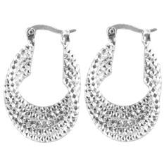 Easbuy Chic Noble Twist Belt Carve 925 Berlapis Perak Hoop Earring