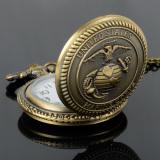 Jual Easybuy Korps Marinir Amerika Serikat Pria Retro Perunggu Vintage Saku Kuarsa Perhiasan Coklat Branded Murah