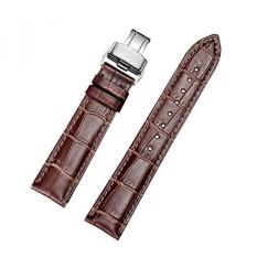 EHHE ZPF Calfskin Penggantian Leather Watch Bands dengan Deployment Buckle untuk Pria dan Wanita 18mm-24mm- INTL
