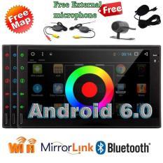 EIN Mobil Double Din Layar Sentuh Head Unit Android 6.0 OS GPS Navigasi Mobil Radio Otomatis Stereo Audio FM/AM Tombol Putar Pengatur Bluetooth Kontrol Dual masukan Kamera Wifi 1080 P Video + Kamera Belakang Ponsel-Intl
