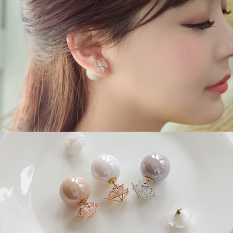 Elegan Anting Manis Mutiara Anting Batu Kristal Air Ada Berlian