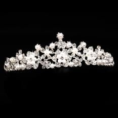 Mewah Elegan Diamante Berlian Imitasi Pearl Crown Pesta Pernikahan Pengantin Hadiah