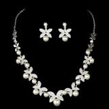 Harga Mewah Elegan Diamante Berlian Imitasi Kalung Mutiara Anting Anting Set Pernikahan Internasional Termurah
