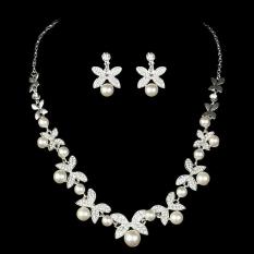Mewah Elegan Diamante Berlian Imitasi Kalung Mutiara + Anting-anting Set Pernikahan-Internasional