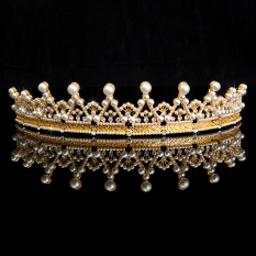 Toko Kristal Berlian Imitasi Mutiara Pernikahan Elegan Prom Tiara Mahkota Pegeant Ikat Kepala Emas Termurah