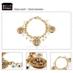 Promo Toko Elegant Pearls Gold Chain Bracelet