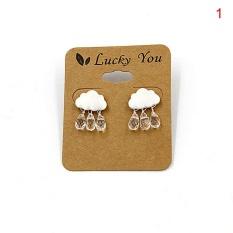 Elegant Women Alloy Cloud Crystal Rain Drop Faux Pearl Pendant Earrings Ear Stud Jewelry Silver 2cm*1.5cm - intl