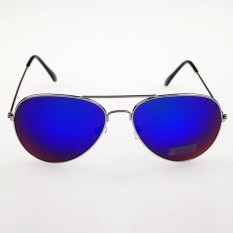 ELENXS Adapula Biru Cermin Penerbang Vintage Warna Kacamata Hitam Eyewear Perlindungan  Sinar UV (Biru) 337af9ca29