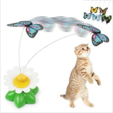 Jual Elife Funny Electric Butterfly Flying Around The Flower Pet Cat Toys Cat Teasing Toy Intl Elife