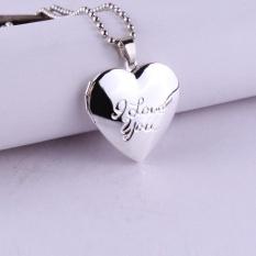 Elife Valentine Kekasih Hadiah Hewan Bingkai Foto Bisa Membuka Liontin Kalung Heart Pendant Necklace (#2)-Intl