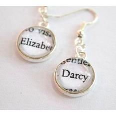Elizabeth dan Tn. Darcy Earrings Di Warna Perak//Pride And Prejudice Terkenal Pasang//Jane Austen Anting -Intl
