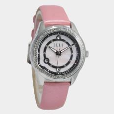 ELLE EL20334S06C - Analog - Jam Tangan Wanita - Bahan Tali Leather - Pink - Kristal Pada Bezel