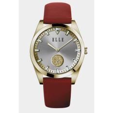 ELLE EL20393S03C - Analog - Dial Detik - Jam Tangan Wanita - Bahan Tali Leather - Merah