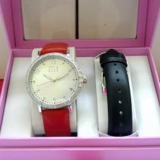 ELLE Original Jam Tangan Wanita ES20080S06X Merah Silver Hitam