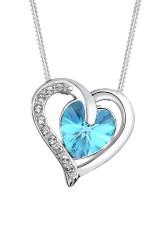 Spesifikasi Elli Germany 925 Silver Kalung Heart Swarovski® Crystals Biru Muda Lengkap
